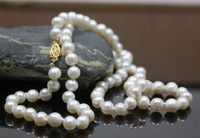 8-9MM Beautiful WHITE AKOYA Pearl Necklace 20 INCH