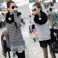 2012 LATEST MODEL autumn winter basic all-match long-sleeve stripe WOMEN t-shirt 100% COTTON soft lady t-shirts FREE SHIPPING