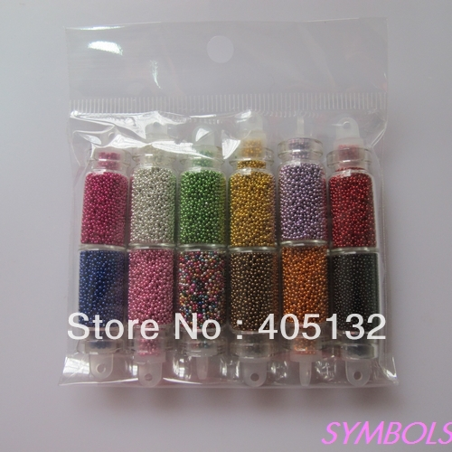 OD-13 Free Shipping Wholesale 12 Solid colors per set in Glass Bottles Caviar Micro Beads Beautiful For women Nail Art Deco(China (Mainland))