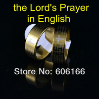NEW English Bible Lord's Prayer Cross Ring Gold Tone Stainless Steel Rings Fashion Religious Jewelry Free Shipping