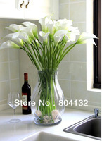 NEW 12pcs/lot  Most Popular Artificial Flowers Real Touch PU Flowers Calla Lily White Color Home Decor Party Wedding