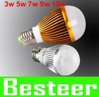 Free shipping Ultra light 3W , 5w , 7w, 9w,12w,15w 100-240V golden/silver led globe bulb E27/GU10/B22 lamp spotlight