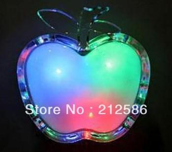 Free shipping 40pcs/lot crystal apple night light with plug power saving night light use for long life