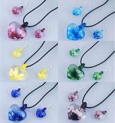 bridesmaids jewelry sets cheap-wholesale 6 sets / lot , lampwork glass & opp + card packing(China (Mainland))