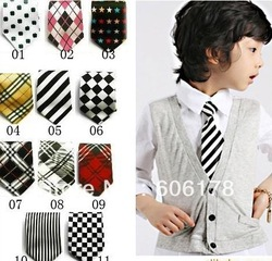 Hot- Free Shipping!Boys Childrens Kids On Elastic Tie Necktie Diffrent Styles Design Childrens Necktie 10 PCS(China (Mainland))