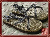 free shipping Handmade straw sandals Men tatbeb fashion sandal cane shoes breathable male tatbeb knitted tatbeb