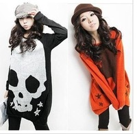 Autumn outfit new women's long sleeve grow a loose type printing skull knitted T-shirt unlined upper garment