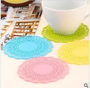 4 pcs/pack 2446 hot-selling derlook sweet vintage translucent cutout lace insulation mat (DM)