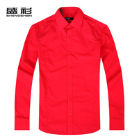 Free Shipping Autumn 2012 men's clothing red wedding dress shirt groom shirt slim long-sleeve shirt