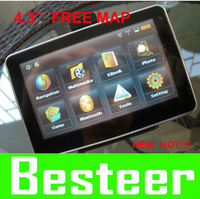 New! Best price! 4.3'' GPS + 4GB memory car gps navigator  touch screen with MP5 FM Ebook