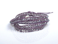 Free Shipping, Fashion Jewelry Handmade Leather Bracelet 4 Wrap Bracelet 6mm Austria Cystal Beads Leather Wrap Bracelets CL027