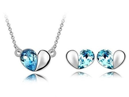 Free Shipping 18K Gold Plated Sea Blue Crystal Jewelry Set,Necklace+Earings,Fashion Jewelry set for Women,Wedding Jewelry(China (Mainland))
