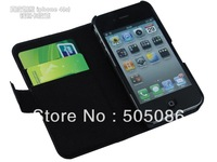 High Quality Fashion Wallet Case For iphone 4g With Card Holder Stand Design Leather Case For iphone 4S Free Shipping