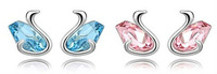 2 Color Choice (Blue/Pink) Crystal Earrings Romantic Lovely Swan Style Fashion Jewelry / Free Shipping HongKong Post