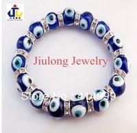 Free shipping,Wholesale 12pcs Fashion Turkish Murano Glass dark blue Evil eyes Charm Bracelet jewelry,Strech bracelet.MSB08