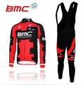 2012 Red /White  BMC Winter Fleeced  Long Cycling  Jersey +BIB Pants Bike Clothing