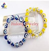 Free shipping,Wholesale 12pcs Fashion Turkish Murano Glass Round Evil eyes Charm Bracelet jewelry,Strech braceletMSB06