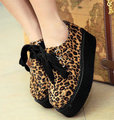 Free Shipping,Hot Sale Faux Suede Leopard #A25 Lace Up Wedge Platform Round Toe Womens/Ladies Shoes,US 4-8.5