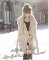 FREE SHIPPING   autumn and winter plus size clothing rabbit fur cloak wool coat outerwear