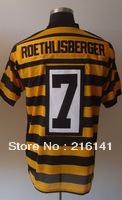 Free/Fast Shipping, Sewn On #7 Ben Roethlisberger Alternate Throwback Yellow Football Elite Jerseys,Size 40,44,48,52,56.