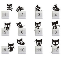 Free shipping  12pcs creative switch stickers,Pudding cat bedroom parlor wall stickers