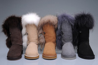 Australia real sheep skin fox fur snow boot, women style new tall shoes,more color instock