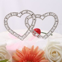 China post air mail free shipping Double Heart Shining Cake Topper