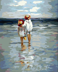 Free shipping Hand-painted DIY oil painting by number acrylic paint beach 30x40cm home decoration unique gift for child SJ15(China (Mainland))