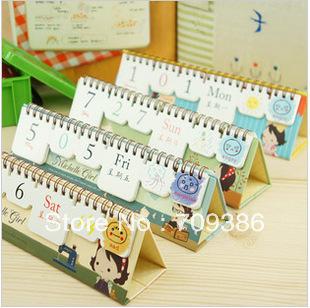 Sweet girl design mini DIY table 2013 Calendar 5Pcs/Lot