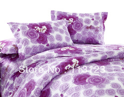 freeshipping 100% cotton reactive printed bedsheet set promotion Violet Flower bed sheet 3size twill bedsheet 3pcs queen &amp; king(China (Mainland))