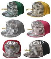 Free Shipping Adjustable paste box hip-hop cap, Bboy flat brimmed hat, Sports caps, Snapback hats, 6 color