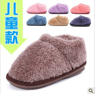 The parent-child shoes cute plush turnkey with children's thick bottom slippery P2526 cotton shoes