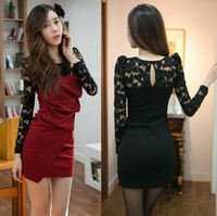 2012 OL Elegant Sexy Women's Slim Hig Long Lace Patchwork Dresses with Long Lace Sleeve 1/pcs Free Shipping