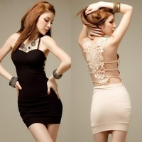 Y-PA-D-01 2012 Racerback Cutout Crochet Party Sexy Slim Hip Spaghetti Strap Pad One-piece Dress Ladies