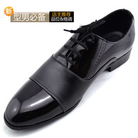 New arrival pointed toe the tide single shoes Men daily casual fashion black leather lacing shoes male