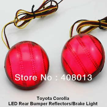 Free Shipping Red Lens LED Rear Bumper Reflectors Light Lamp 07-10 Toyota Corolla Add-on Rear Brake Tail Parking Warning Light