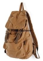 BAZ1 MEN WOMEN VINTAGE LOOK TRAVELING khaki Thick cotton Canvas Backpack Shoulders Bag with genuine leather for women men