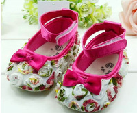 Free Shipping new arrival hot sell Rose flower Baby shoes Princess shoes pre walker shoes 6 pairs/lot
