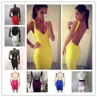 Free shipping 2013  Sexy backless  bandage Celebrity dress Cocktail Party Evening Dresses yellow & black HL536