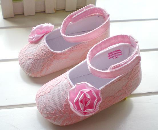Free Shipping new arrival Pink lace roses girl baby shoes Princess shoes flower girl shoes brand name 6 pairs/lot(China (Mainland))