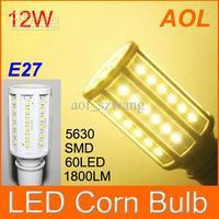 High Quality 12W E27 60 LED 5630 SMD 1800LM LED Corn Bulb White, Warm White 110-220V Corn Light Bulb