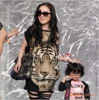 Tiger printed Tshirt Long Tops Womens Summer Tees Popular T shirt  Fashion cotton Animal pattern,plus size,Free shipping