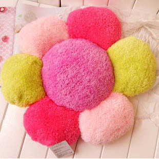 Pink petal multi-colored big flower soft lamb polyester plush cushion,dolls,toys(China (Mainland))