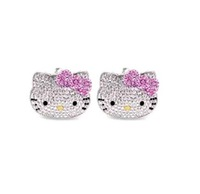 Free Shipping,hello kitty wholesale,hello kitty earring cheap,hello kitty in red or pink bow free jewelry gift 12pcs/lot HT7980