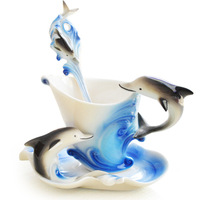 European coffee cup novelty enamel porcelain dolphin cup set sky blue ceramic cup coffee mug with Beidie+spoon suit 150 ml