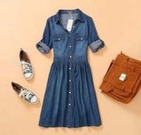 2013 Fashion Summer Knee-length Dress Thin Blue Slim Jeans Women's Denim Casual Dress Plus size