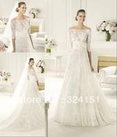 2013 princess New Arrival A Line Bateau Court Train Half Sleeve Lace White Wedding Dress/Gown Dresses Discount