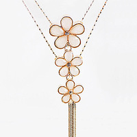 Flower fashion crystal necklace long design necklace female hangings multi-layer vintage accessories