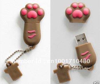 "Brown/Pink ""Paw"" USB Flash Memory Drive(Stick/Pen/Thumb)"
