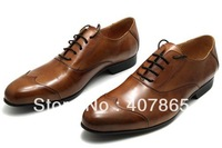 Wholesale free shipping Low help leather shoes/ men's brown leather shoes man business